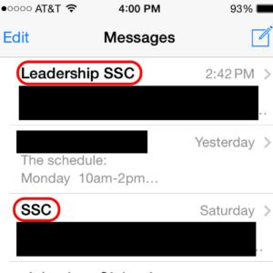Screenshot of Groupme texts
