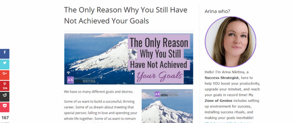 Screenshot, article about why you haven't achieved your goals