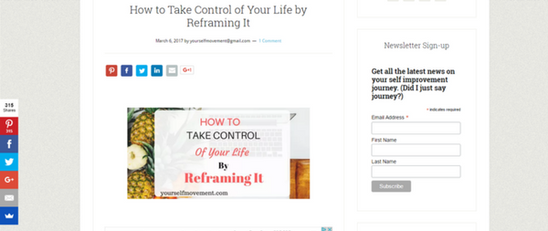 screenshot, article about positive thinking, reframing situations