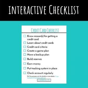 Credit Card Checklist Freebie Screenshot